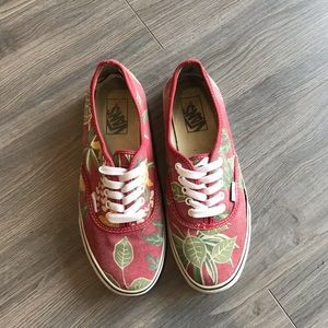 Vintage Vans women 8 men 6.5 Red with floral print